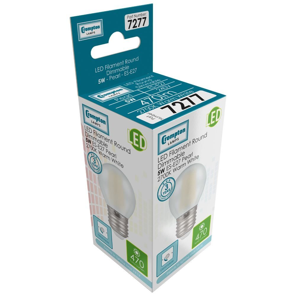 7277 - LED Round Filament Pearl 5W Dimmable 2700K ES-E27
