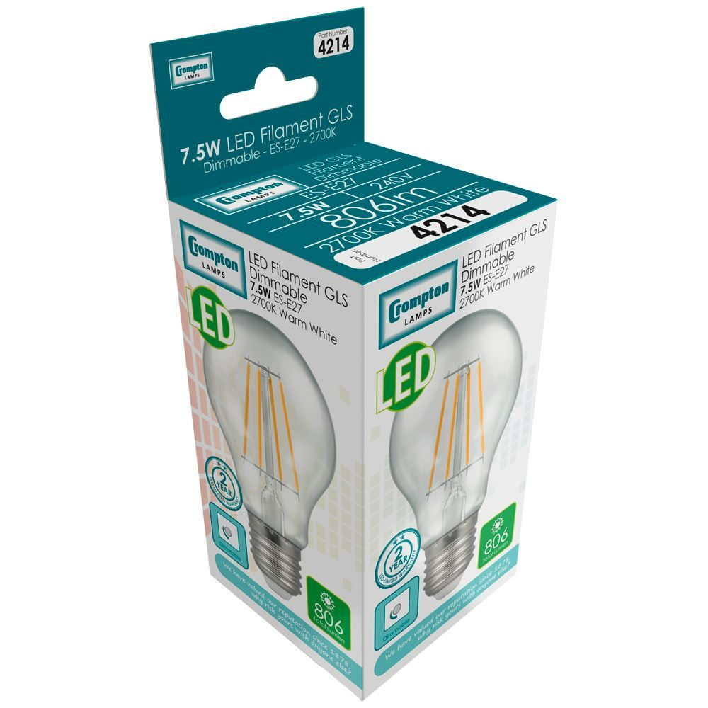 4214 - LED GLS Filament Clear 7.5W Dimmable 2700K ES-E27