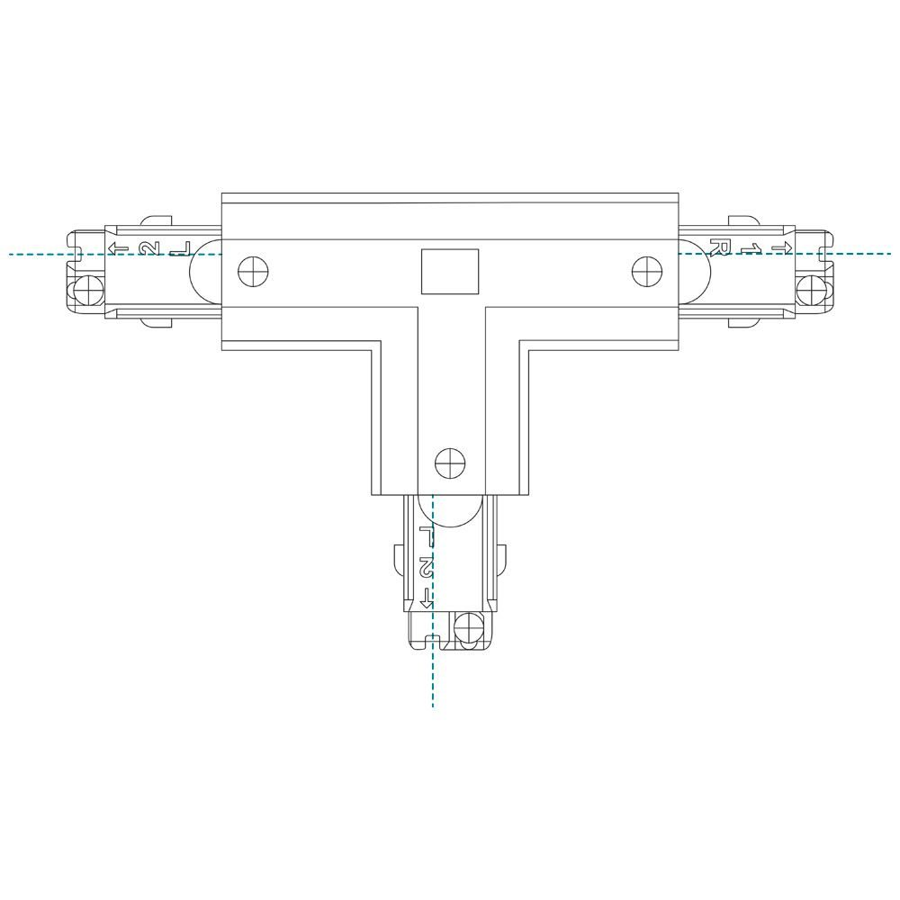10789 - T Coupler Right Outside For 3 Circuit Track White