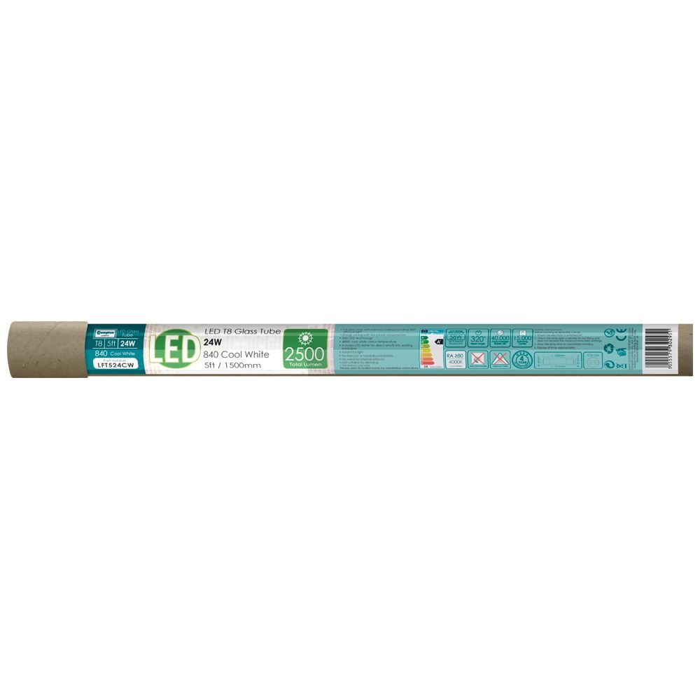 LFT524CW - LED T8 Full Glass Tube 5ft / 1500mm 24W 4000K G13