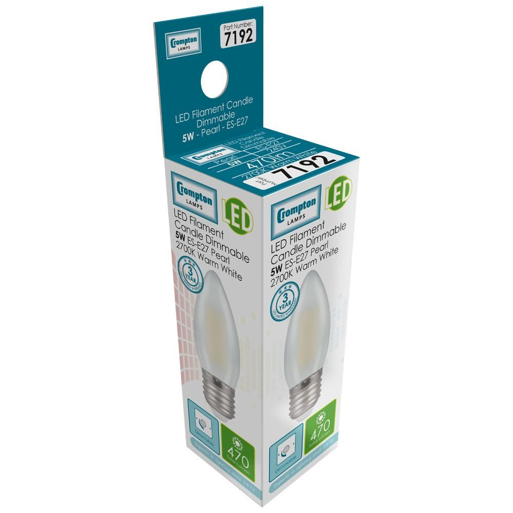 7192 - LED Candle Filament Pearl 5W Dimmable 2700K ES-E27