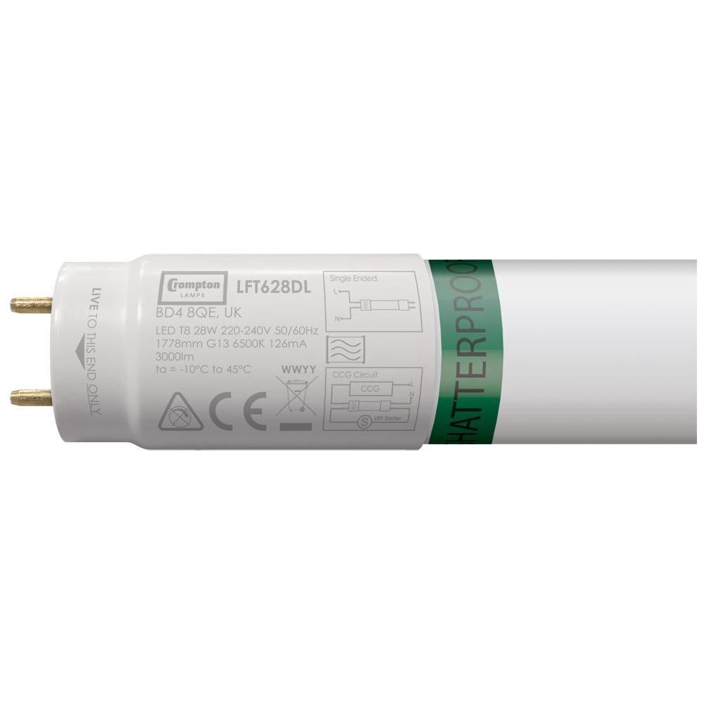 LFT628DL-SF - LED T8 Full Glass Tube Shatterproof Foodsafe 6ft / 1778mm 28W 6500K G13