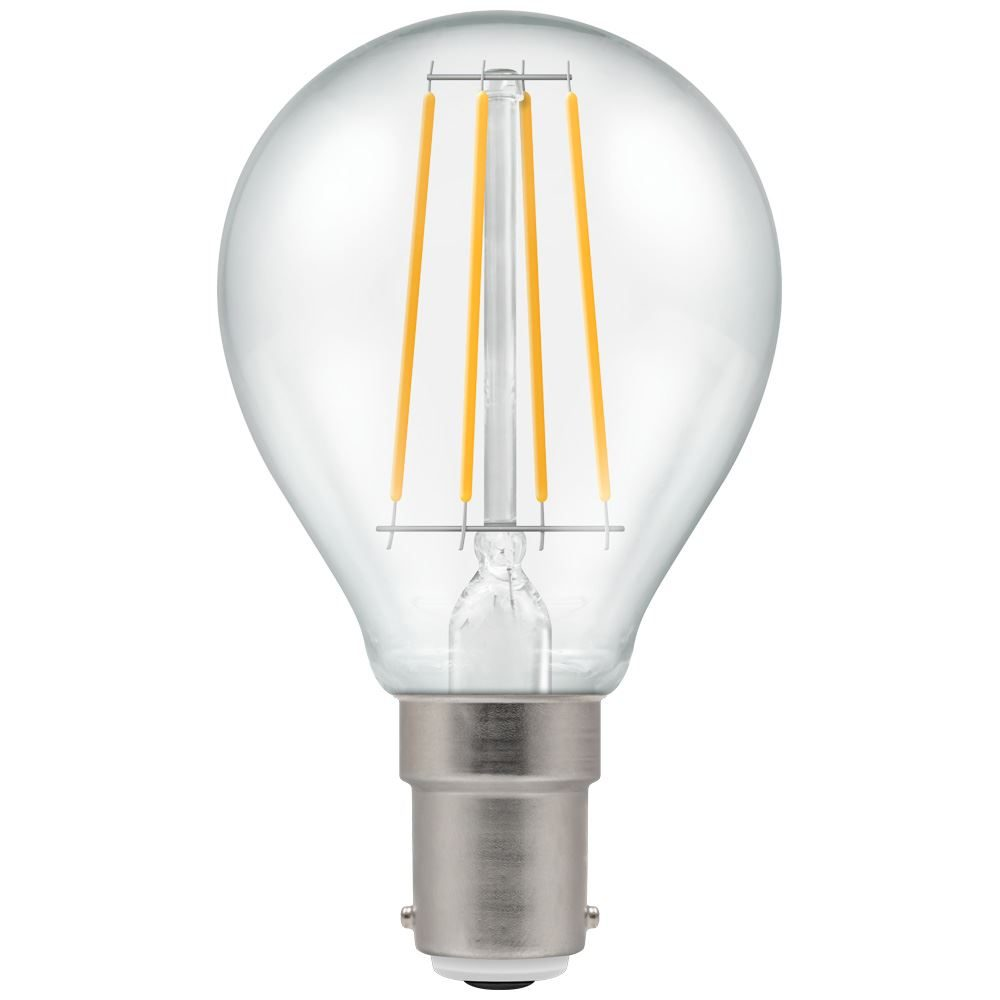 7222 - LED Round Filament Clear 5W Dimmable 2700K SBC-B15d